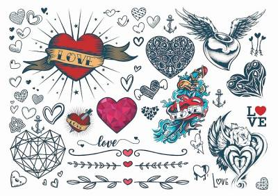 1xA4 Sheet Love Hearts(Mel) Temporary Tattoos